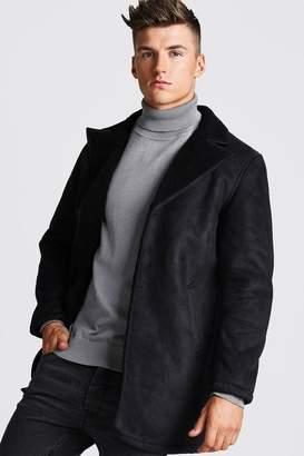 BoohoomanBoohooMAN Mens Black Borg Collar Faux Suede Jacket, Black