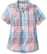 L.L. Bean L.L.Bean Textured Cotton Popover Shirt, Short-Sleeve Gingham