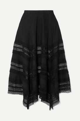 Charo Ruiz Ibiza Benna Crocheted Lace-paneled Cotton-voile Maxi Skirt - Black