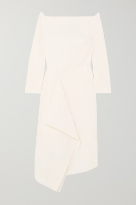 Roland Mouret Clover Off-the-shoulder Draped Wool-crepe Dress - White