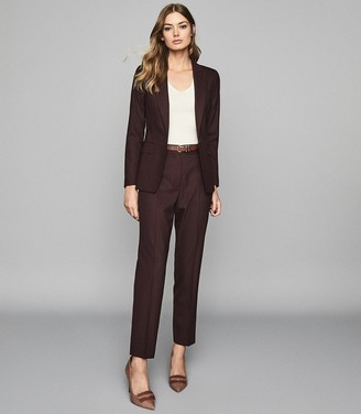 Reiss LISSIA JACKET TEXTURED SINGLE BREASTED BLAZER Berry