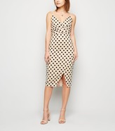 New Look Stone Flocked Spot Wrap Midi Dress