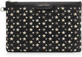 Jimmy Choo DEREK Black Leather Document Holder with Multi Metallic Mix Stars