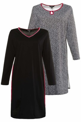 Ulla Popken Women's Big-Shirt 2er Pack Blatter Nightie