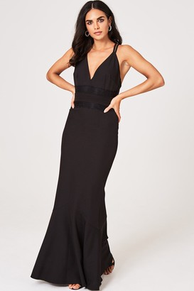 Little Mistress Valerie Black Lace-Trim Plunge Maxi Dress