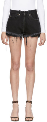 Unravel Black Denim Full Zip Shorts