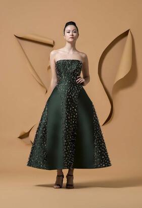 Isabel Sanchis Green Strapless Mucutuy Midi-Tea Dress