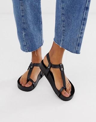 Asos Design DESIGN Filmore premium leather minimal footbed toe loop sandals-Black