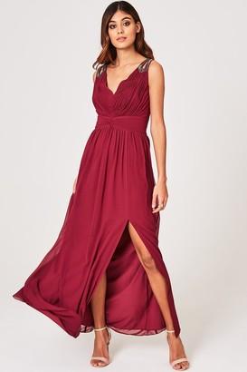 Little Mistress Nelle Dusty Wine Embellished Strap Maxi Dress