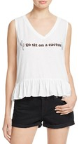 Wildfox Couture Go Sit On A Cactus Peplum Tank