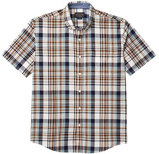 Pendleton Short Sleeve Madras Shirt (Blue/Brown Plaid) Men's Clothing
