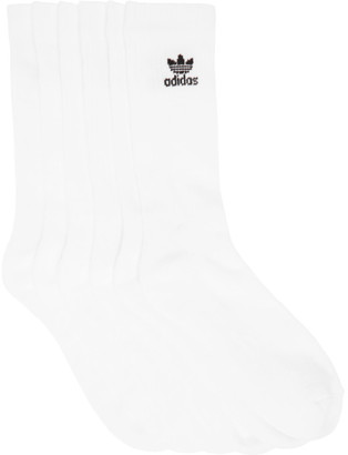 adidas Six-Pack White Solid Crew Socks