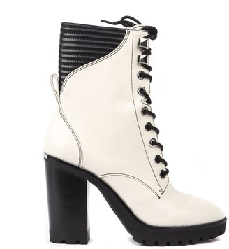 MICHAEL Michael Kors Cream Leather Lace Up Boots