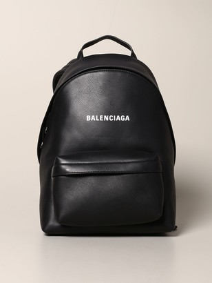 Balenciaga Everyday Leather Backpack With Logo