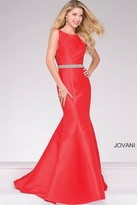 Jovani Mermaid Embellished Belt Prom Dress 49216
