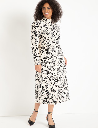 ELOQUII T-Neck With Wrap Skirt Dress