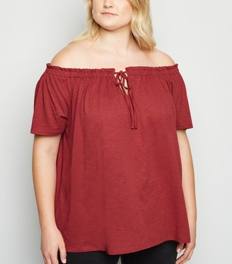 New Look Curves Bardot Tie Front Top