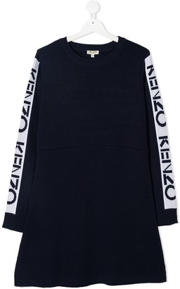 Kenzo Kids TEEN logo trim sweater dress