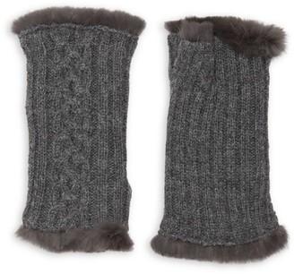Agnelle Victoire Rabbit Fur-Lined Fingerless Gloves
