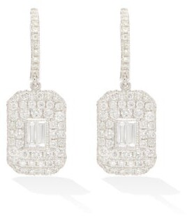 Shay Baguette Diamond & 18kt White Gold Drop Earrings - Crystal