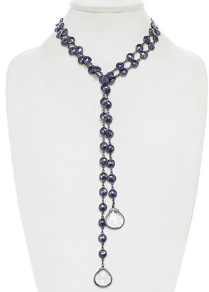 Rachel Reinhardt Silver Blue Chalcedony Bezel Lariat Necklace