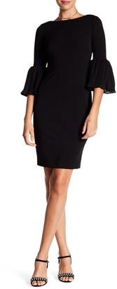 Calvin Klein Pleated Ruffle Cuff Sheath Dress