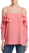 NYDJ Petites Tiered Ruffle Cold Shoulder Blouse