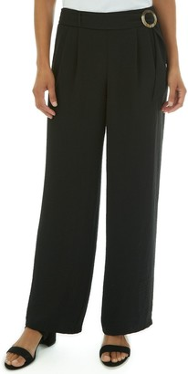 Apt. 9 Women's Solid Washed Twill Belted Flat Front Pull-on Pants