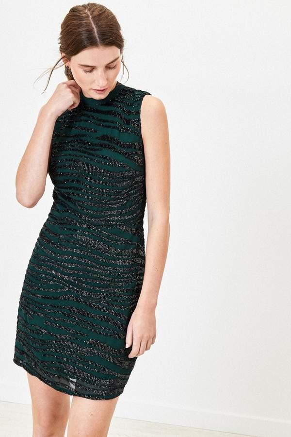 Oasis Womens Green Sequin Tiger Shift Dress - Green