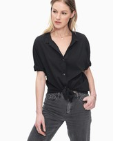 Splendid Cotton Voile Short Sleeve Boyfriend Shirt