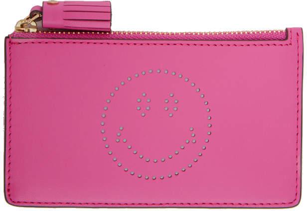 Anya Hindmarch Pink Smiley Zipped Key Card Holder