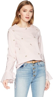 J.o.a. Women's Long TIE Bell Sleeve Blouse