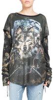 Balmain Extended-Sleeve Wolf-Print T-Shirt