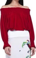 Norma Kamali Peasant Top - Red