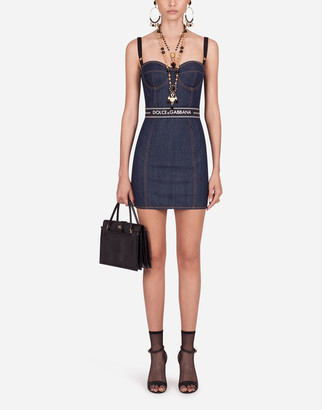Dolce & Gabbana Short Belted Denim Corset Dress