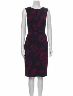 Oscar de la Renta Floral Print Knee-Length Dress Black