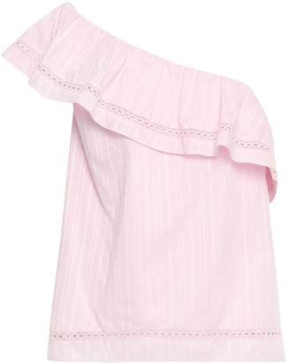 Kate Spade One-shoulder Crochet-trimmed Cotton Top