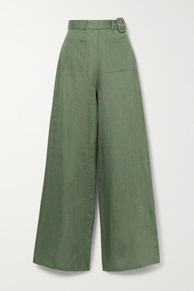 Miguelina Rita Belted Linen Wide-leg Pants - Green