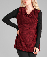 Aster Red & Black Cowl-Neck Tunic - Plus - Plus Too