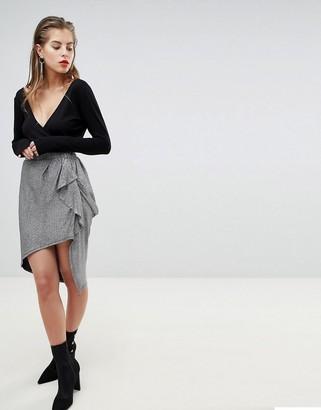 Morgan X Georgia May Ruffle Front Metallic Mini Skirt