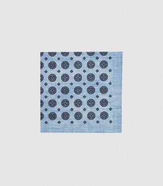 Reiss SAINT COTTON MEDALLION POCKET SQUARE Soft Blue