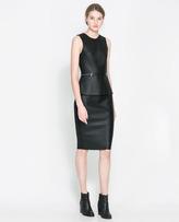 Zara Faux Leather Peplum Dress