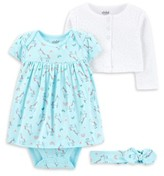 Carter's Child Of Mine By Child of Mine by Baby Girl Long Sleeve Cardigan, Dress & Headband, 3pc Outfit Set