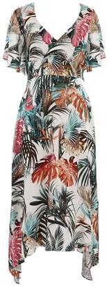 Naf Naf Tropical Print Maxi Dress with Short Sleeves