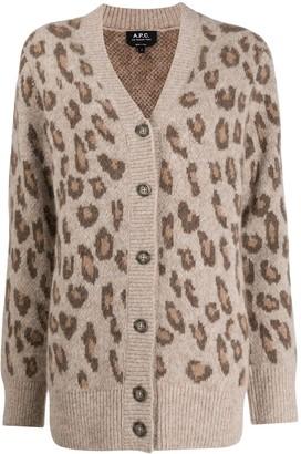 A.P.C. Leopard Print Knit Cardigan