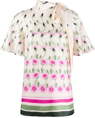 Valentino Tie-Neck Floral Blouse