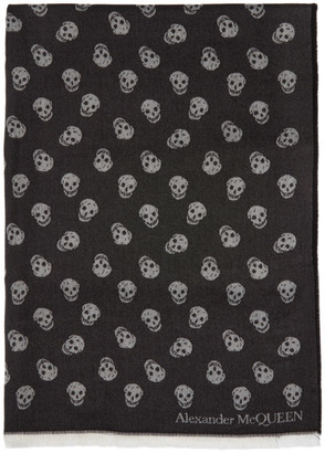 Alexander McQueen Black Wool and Silk All Over Skull Scarf