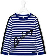 Burberry logo striped jumper - kids - Cotton - 4 yrs