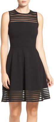 Eliza J Stripe Mesh Fit & Flare Dress