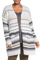 Caslon Stripe Open Front Cardigan (Plus Size)